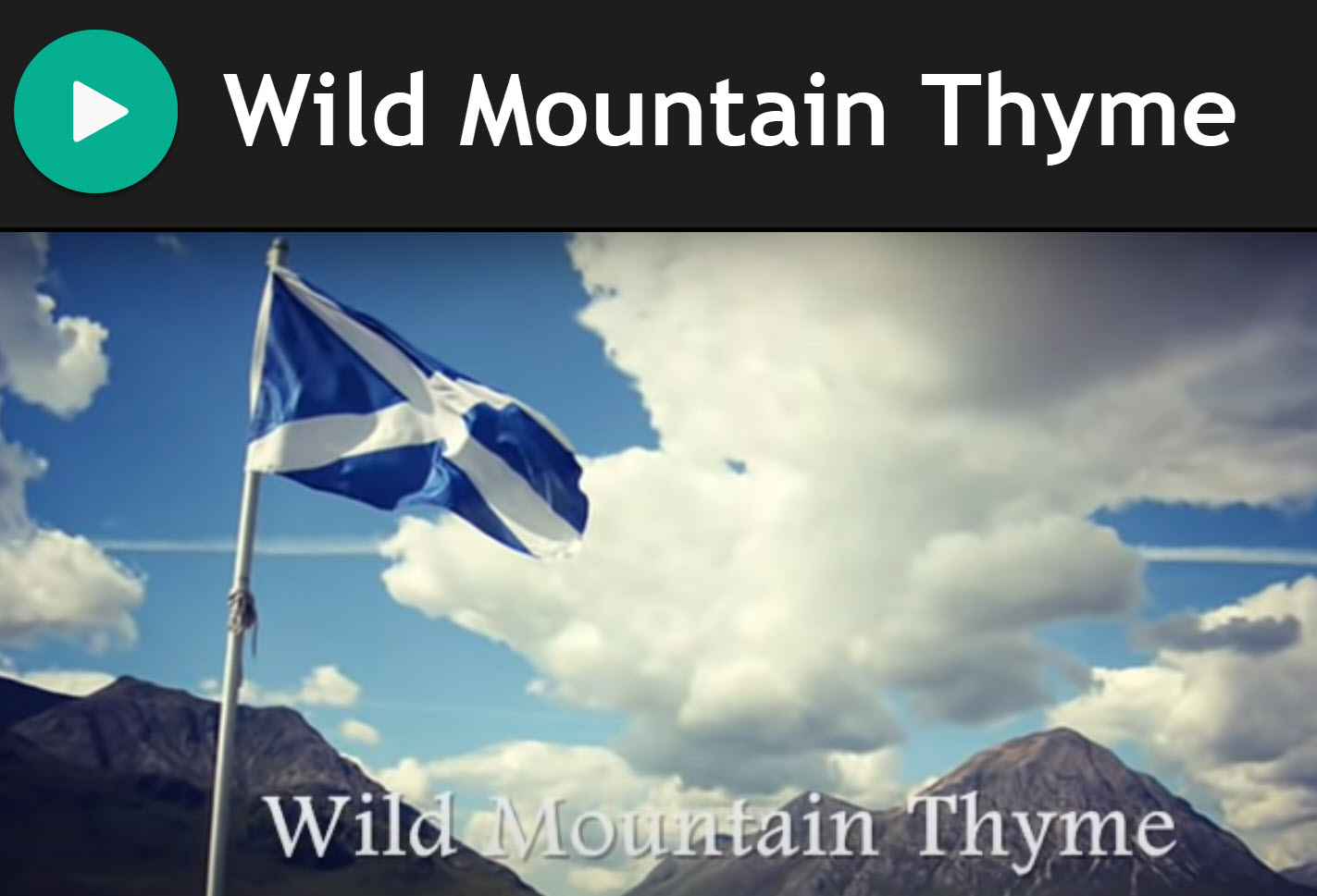 Wild Mountain Thyme by Sarah Calderwood for Practice Chanter